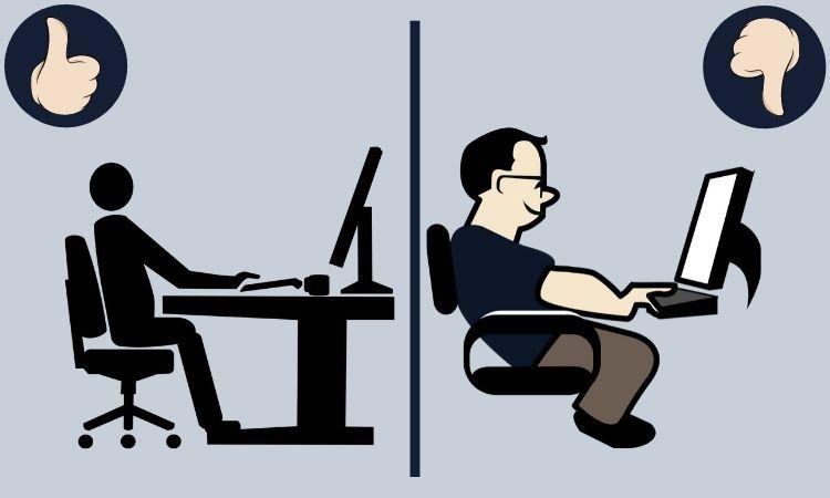 cómo sentarse frente al ordenador